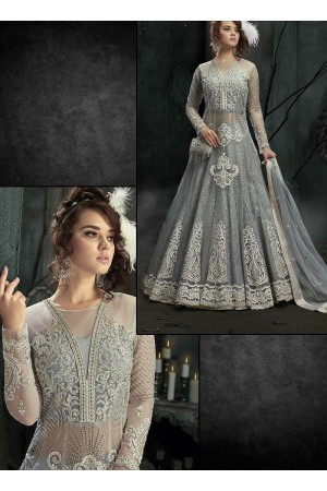 Grey color party wear 2 in 1 style suit