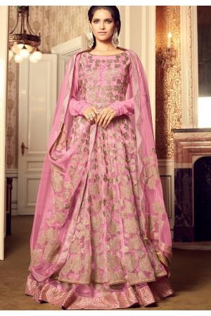 Pink color net party wear lehenga style kameez