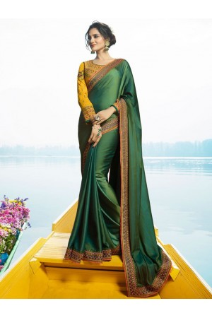 Green Color Barfi silk designer party wear saree