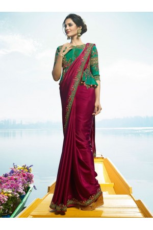 Magenta Color Barfi silk designer party wear saree