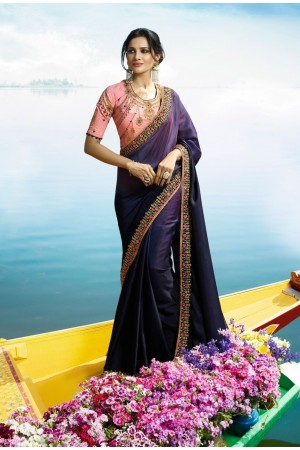 Purple Color Barfi silk designer party wear saree