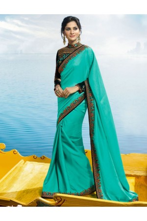 Turquoise Color Barfi silk designer party wear saree