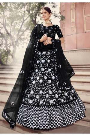 Black net sequins work lehenga choli 5901