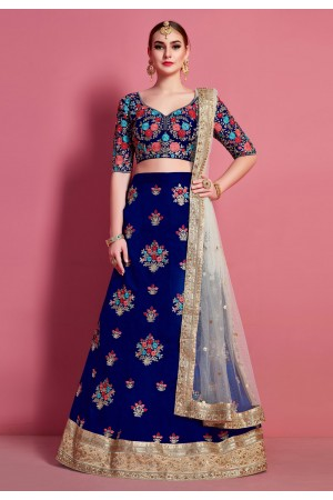 Blue art silk circular lehenga choli 4622