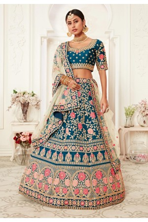 Blue floral embroidered silk lehenga choli 16040