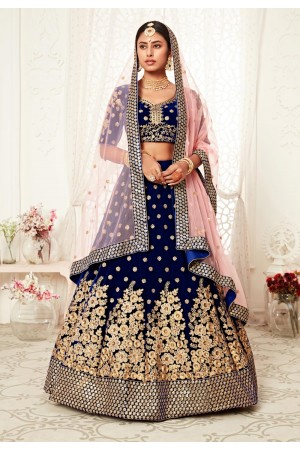 Blue velvet wedding lehenga choli 16041
