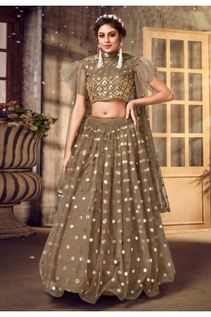 Brown net designer lehenga choli 1030