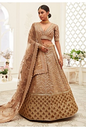 Brown silk embroidered sequence work lehenga choli 16046