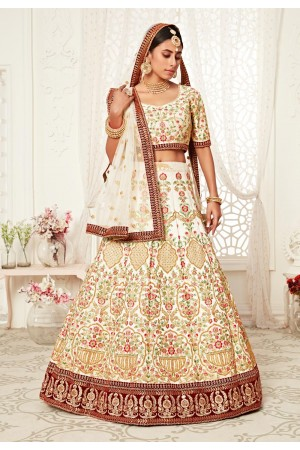 Cream art silk embroidered lehenga choli 16042