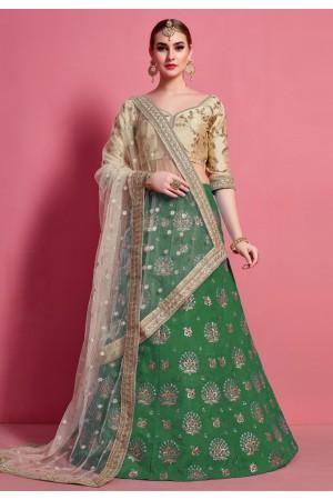 Green art silk circular lehenga choli 4606