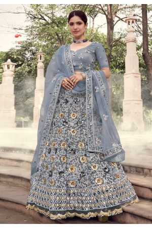 Grey net sequins work lehenga choli 5903