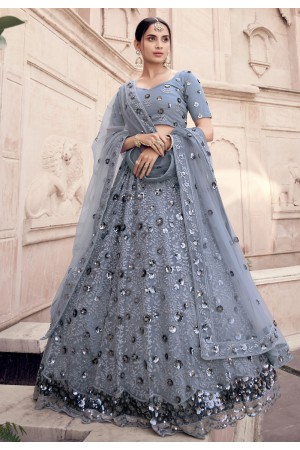 Grey sequins work net lehenga choli 5907