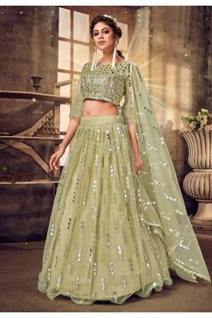 Light green net designer lehenga choli 1031