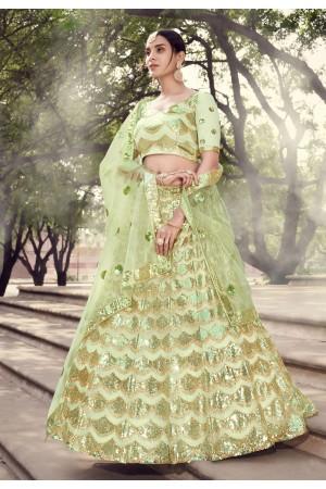 Light green net sequins work lehenga choli 5909