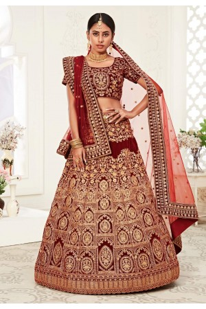 Maroon velvet embroidered bridal lehenga choli 16047