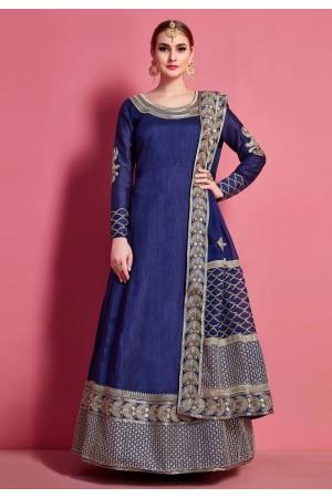 Navy blue art silk long anarkali suit 4609
