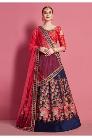 Navy blue silk circular lehenga choli 4620