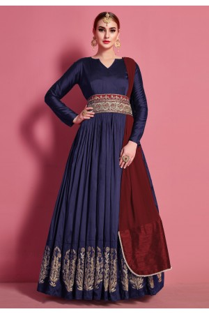 Navy blue taffeta long anarkali suit 4619