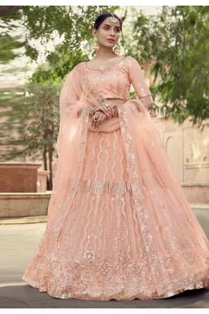 Peach sequins work net lehenga choli 5905