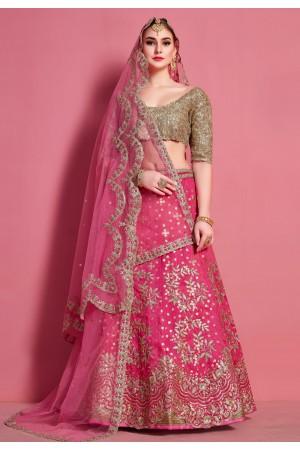 Pink art silk circular lehenga choli 4611