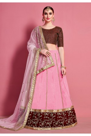 Pink art silk circular lehenga choli 4624