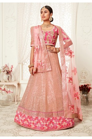 Pink net sequence work lehenga choli 16043