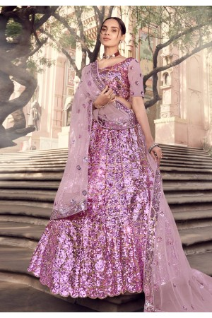 Pink net sequins work lehenga choli 5906