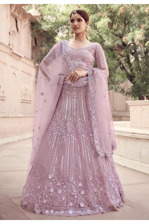 Pink net sequins work reception lehenga choli 5908