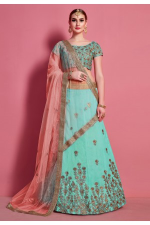 Sea green art silk circular lehenga choli 4616