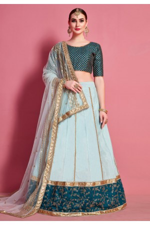 Sky blue art silk circular lehenga choli 4621