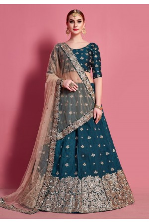 Teal art silk circular lehenga choli 4617