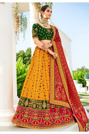 Yellow silk wedding lehenga choli 4211