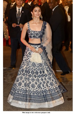 Bollywood Alia Bhatt White Silk lehenga at Isha Ambani wedding
