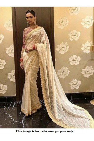 Bollywood Deepika Padukone white and red Net saree