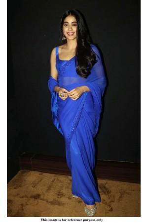 Bollywood Jhanhvi Kapoor blue georgette saree