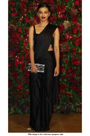 Bollywood Radhika Apte black silk sequins saree