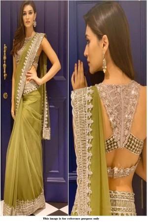 Bollywood Kriti Sanon Green net arty wear saree