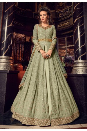 Light green swiss georgette Indian Lehenga kameez 2 in 1 style