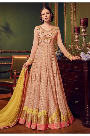 Peach color Swiss georgette gown style Indian wedding anarkali