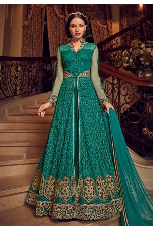 Teal color georgette wedding Lehenga and pant 2 in 1 style