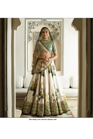 Bollywood Sabyasachi Mukherjee Inspired Sea green art silk Lehenga choli