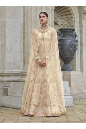 Cream color net party wear anarkali