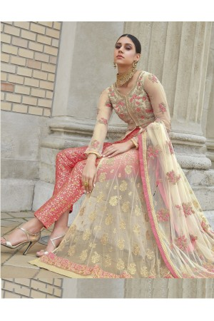 Beige and Pink color net party wear anarkali