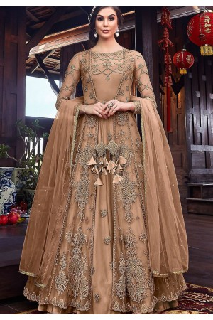 beige net embroidered floor length jacket style anarkali suit 6102a