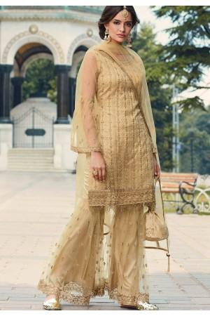 beige net embroidered sharara suit 79004