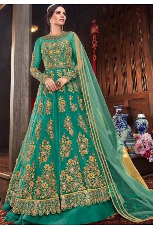 blue net embroidered lehenga style anarkali suit 6103d