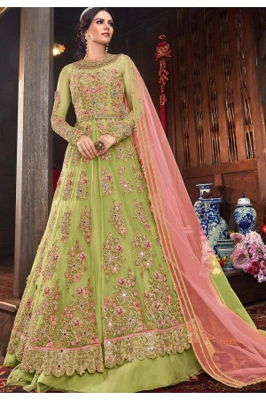 green net embroidered lehenga style anarkali suit 6103c