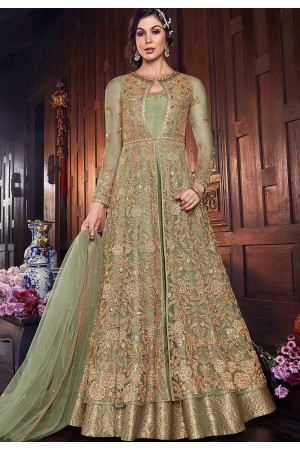 green net silk embroidered floor length anarkali suit 6107b