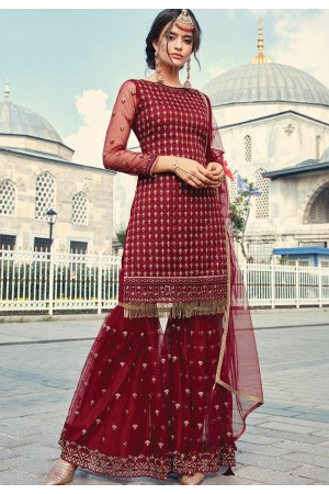 maroon net embroidered sharara suit 79001