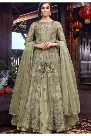 pastel green net embroidered floor length jacket style anarkali suit 6102b